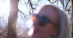 Beautiful blonde woman smiling to the camera Stock Footage