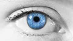 Zoom in from a blue human eye to a tunnel animation. Blue. Gray skin. Stock Footage