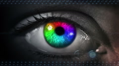 Human eye with futiristic inteface.Multicolored. Gray skin. Loopable. Stock Footage