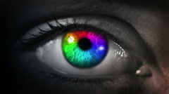 Dark Eye. Multicolored and Green. Dark gray skin.Each video is - stock footage
