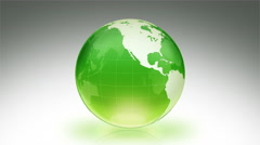 Spinning Earth over white background. Luma matte. Green. Parallels. Stock Footage