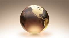 Spinning Earth over white background. Luma matte. Brown. Stock Footage
