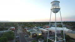 Aerial View of Downtown Gilbert Water Tower Stock Footage