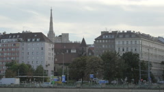 A tower of Votive Church seen from the Danube Canal, Vienna Stock Footage