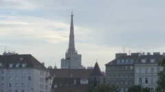 A slimline tower of Votive Church seen from the Danube Canal, Vienna Stock Footage