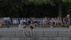 Relaxing on the Donaukanal in the afternoon, Vienna Stock Footage