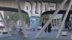 Graffiti on a bridge across the Danube river, Vienna Stock Footage
