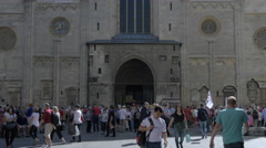 Walking in front of Stephansdom Cathedral, Vienna Stock Footage