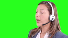 Customer support operator. Call center. Chroma key. Stock Footage