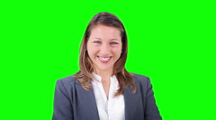 Young  businesswoman looking at the camera. Success portrait. Chroma key. Stock Footage