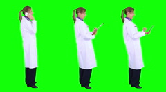 Young female doctor smiling. Chroma key. 3 in 1. Stock Footage