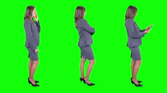 Businesswoman spinning in green background. Chroma key. 3 in 1. - stock footage
