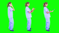 Young female surgeon spinning in green background. 3 in 1. - stock footage