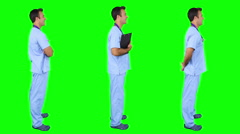 Young male surgeon spinning in green background. 3 in 1. - stock footage