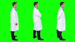 Young and cheerful doctor looking at the camera. Chroma key. 3 in 1. Stock Footage