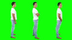 Young man spinning. Casual. Chroma key. 3 in 1. More options in my portfolio. - stock footage