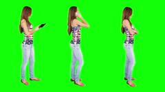 Young woman spinning. Casual. Chroma key. 3 in 1. - stock footage