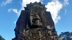 Bayon The Temple of Faces at the center of Angkor Thom - stock footage