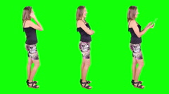 Young woman spinning. Casual. Chroma key. 3 in 1. Stock Footage
