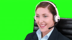 Telemarketer. Customer support operators. Callcenter. Chroma key. - stock footage