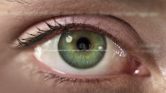 Female eye with program code. Futuristic. Green and brown. 2 colors in 1 file. Stock Footage