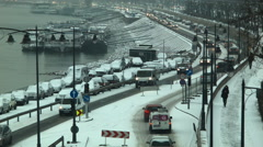 Budapest, Hungary - January, 04. 2016: busy Wharf next to the River Danube Stock Footage