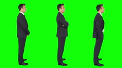 Businessman spinning in green background. Chroma key. 3 in 1. - stock footage