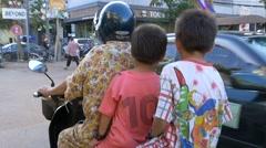 SIEM REAP, CAMBODIA - NOV 2015: People on motor bike Stock Footage
