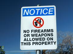 No Firearms or Weapons Sign - stock photo
