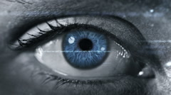 Female eye with program code. Futuristic. Technology. Dark. 2 colors in 1 file. Stock Footage
