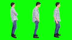 Young man spinning. Casual. Chroma key. 3 in 1. Stock Footage