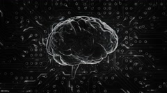 Spinning brain with circuit board background. Loopable. Red-Orange. Stock Footage