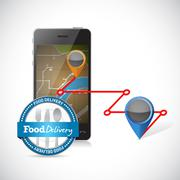 order delivery using a smartphone. - stock illustration