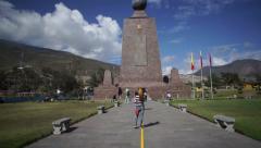 Mitad del Mundo Monument Handheld Tilt Up Stock Footage