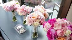 Flower Bouquets Near Window Stock Footage