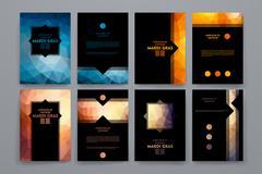 Set of brochures in poligonal style on Mardi Gras theme Piirros