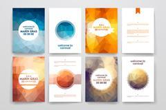 Set of brochures in poligonal style on Mardi Gras theme - stock illustration