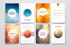 Stock Illustration of Set of brochures in poligonal style on Presidents Day theme