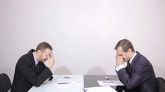 office employee laughing colleague. businessman talking on the phone. blame - stock footage