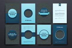 Vector brochures with doodles backgrounds on Valentine's Day theme Stock Illustration