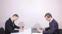 Businessman signs a contract and shake hands. completion of negotiations Stock Footage