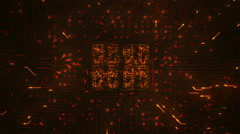 Futuristic circuit board with moving electrons. Loopable. Orange. 2 in 1. Stock Footage