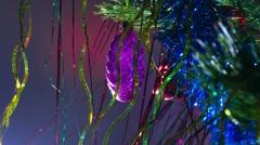 christmas tree toys beautiful night light - stock footage