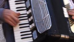 Male playing the accordion during a party Stock Footage