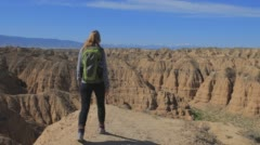Girl tourist in the canyon Stock Footage