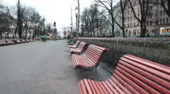 The Esplanadi Square with empty benches is in the center of Helsinki, Finland Stock Footage