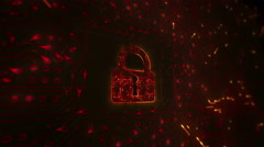 Network security. Lock with circuit board. Firewall. Loopable. Orange. - stock footage