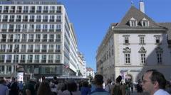 Buildings on Rotenturmstrasse street, next to Stephansplatz square, Vienna Stock Footage