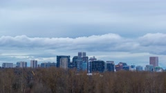 Time Lapse of clouds over city of Portland Oregon from dusk into blue hour 4k - stock footage
