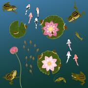 pond with whitebait carp fishes water lilies and  frog - stock illustration